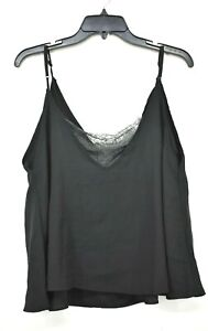 Helmut Lang Womens Lace Inset Satin Tank Top Double V Neck Sleeveless XL $345