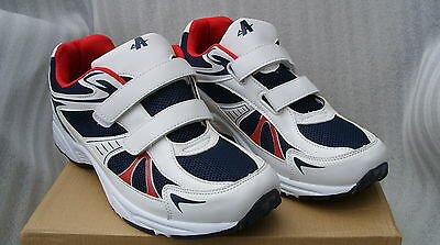 MENS 2 STRAP VELCRO TRAINERS NAVY/WHITE SIZE 6UK-12UK