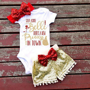 Sequins Newborn Baby Boys Girls Outfits Clothes Romper Tops Pants Headband Set