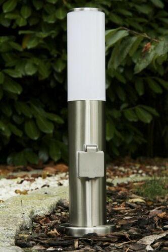Edelstahl Stehlampe mit Steckdose Stehleuchte Außenleuchte Außenlampe Standlampe