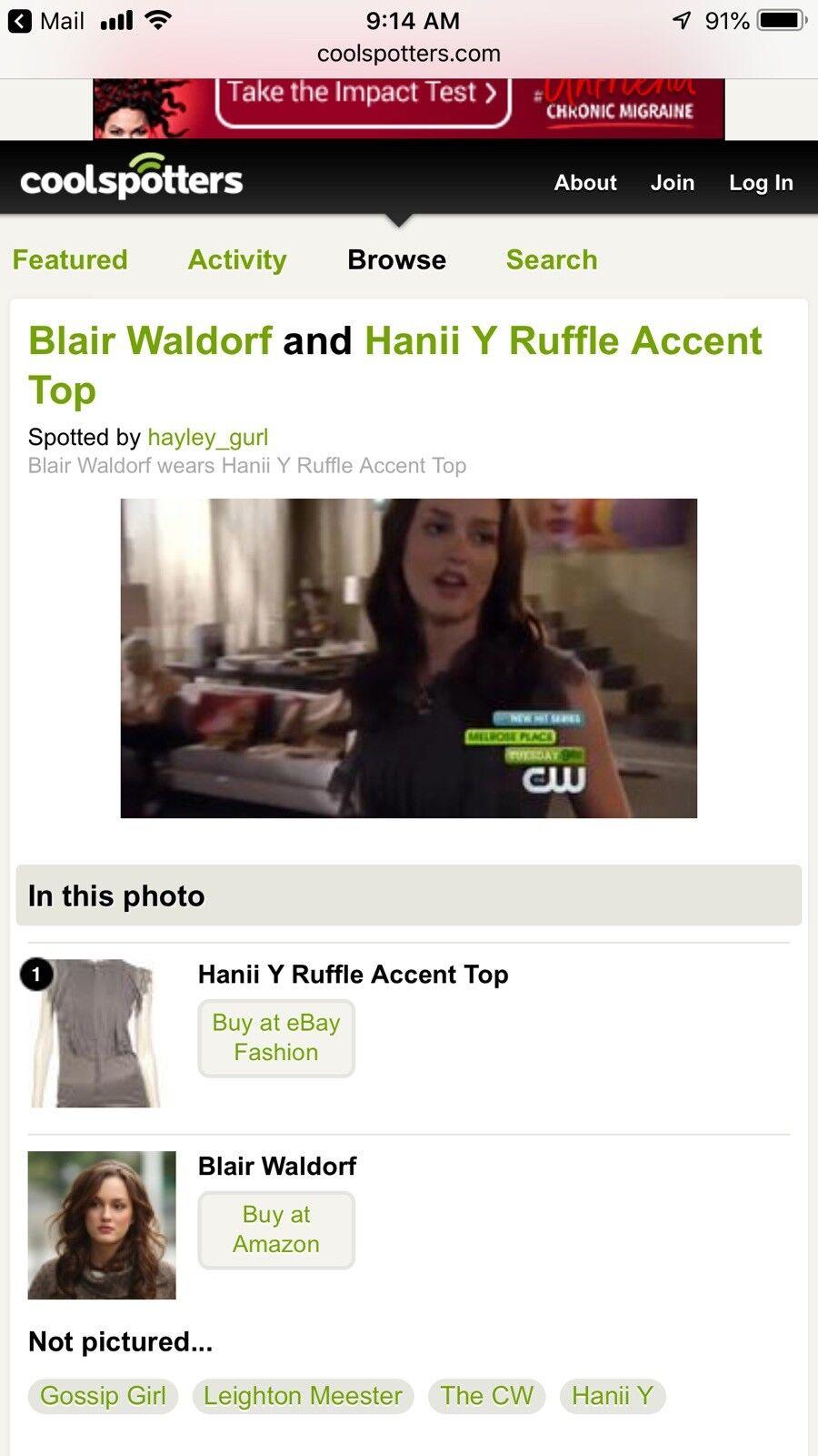 Hanii Y Ruffle Top Aso Blair Waldorf Gossip Girl