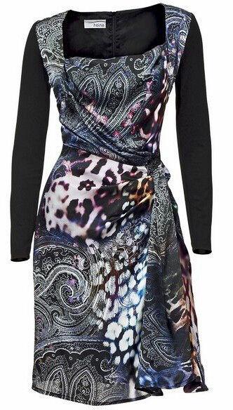 Heine patrizia Dini Dini Dini lujo vestido    estuche vestido en aspecto enrollado 100% seda talla 36  nuevo  2212b6