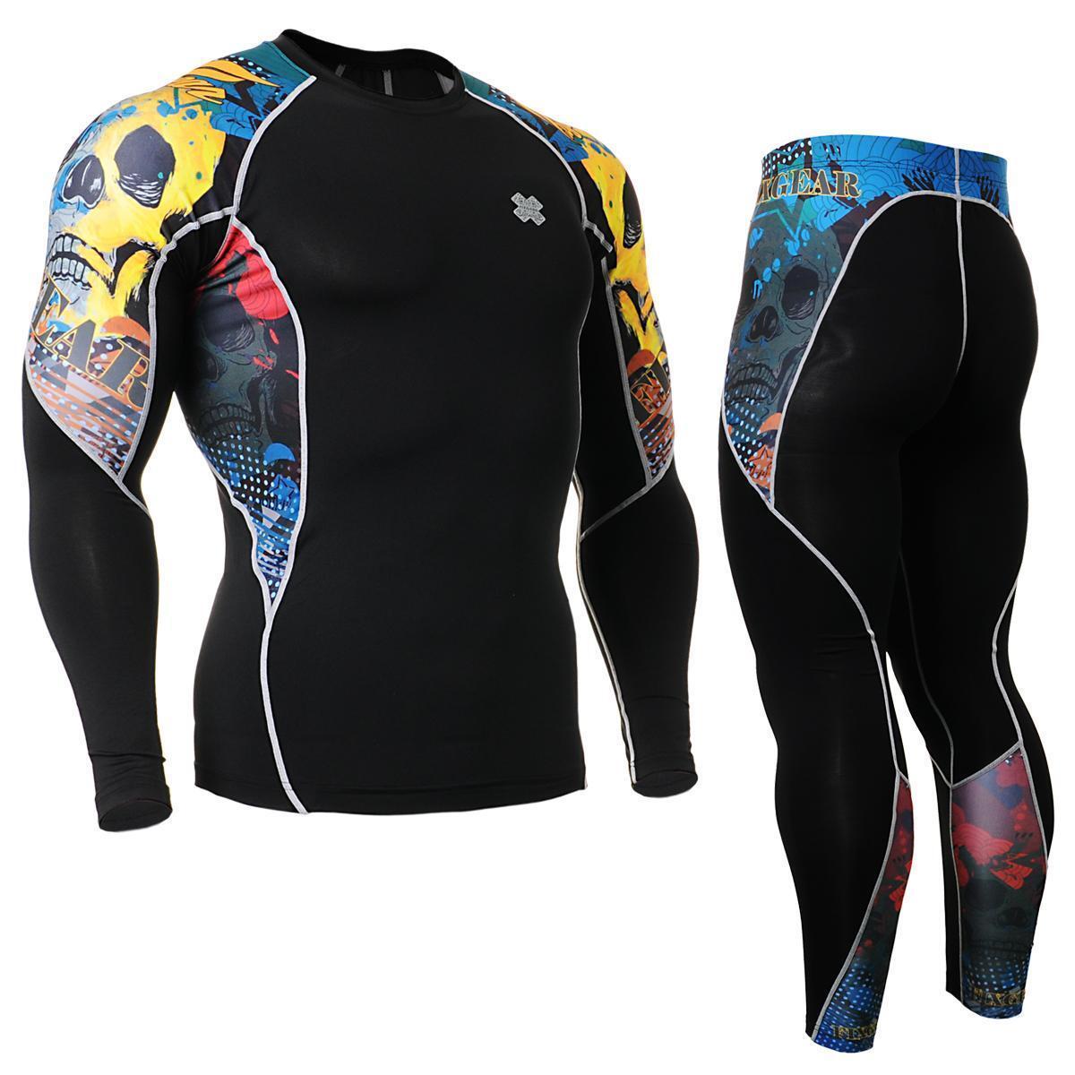 FIXGEAR C2L P2L-B46 Compression Shirts & Pants Set Sportswear MMA Training Gym