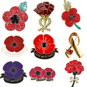 Enamel-Red-Poppy-Flower-Brooch-Pin-Broach-Lapel-Remembrance-Badge-Banquet-Gifts