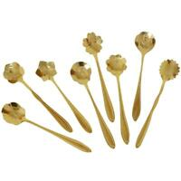 8pcs Practical Flower Shape Coffee Spoon Stainless Steel Tea Ice Cream Spoons