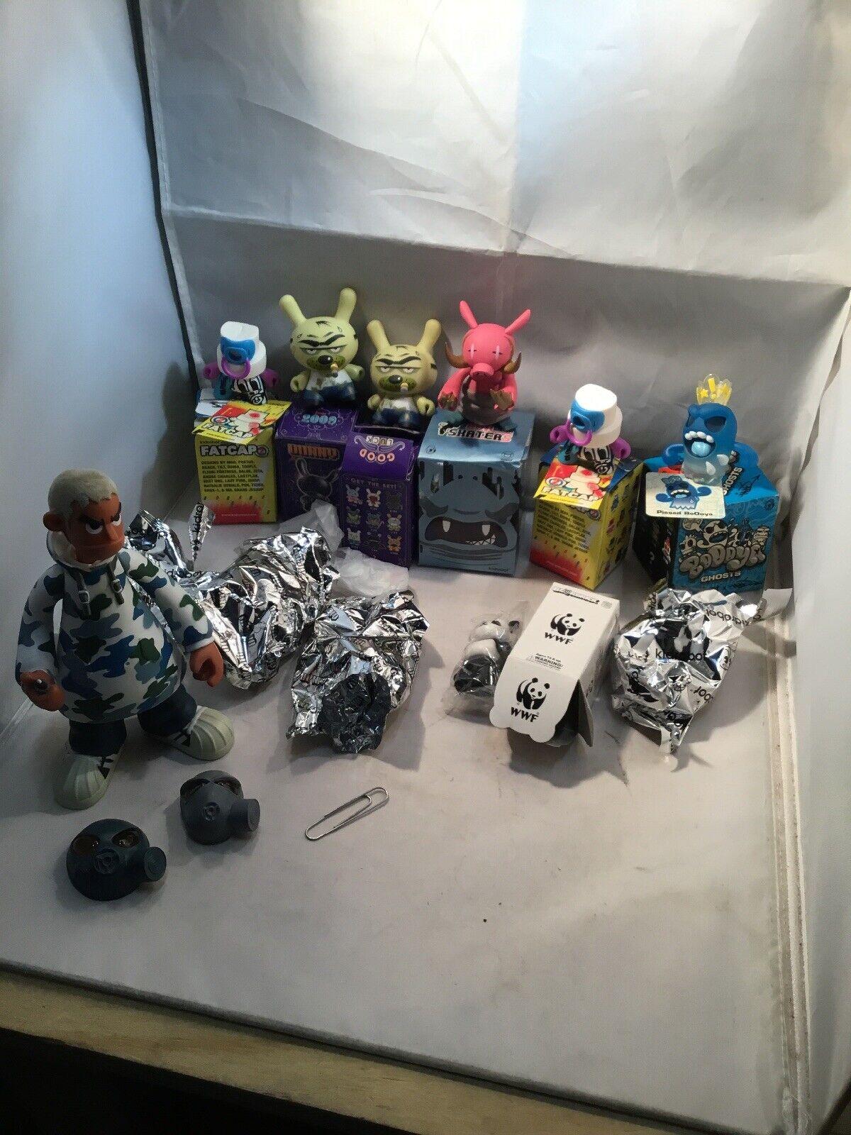 Kidrobot Kidrobot Kidrobot Vinyl Figure Lot Of 8 W BOOOYA Ghost Pissed Crown Face Fatcap CAMO ++ 2a0