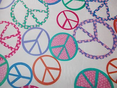 Timeless Treasures Softie Minky Cuddle Peace Sign Fabric Fat Quarter By the Yard