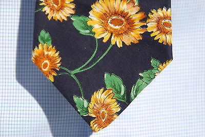 Surrey Gentleman's Navy Blue All Cotton Necktie - Sunflowers - USA