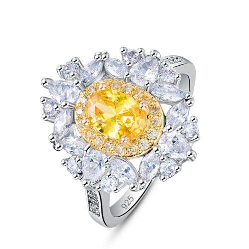 Women Luxury Citrine /& Pink Topaz Wedding Gemstone Silver//Gold Ring Sz 6 7 8 9