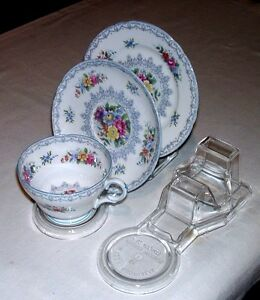 3-CUP-SAUCER-AND-PLATE-DISPLAY-STANDS-AUSTRALIAN-MADE-CLEAR