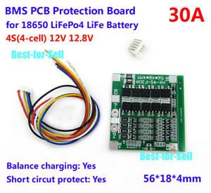 Details about 4S 30A 12V BMS Protection Balance PCB Board For LiFePo4 LiFe  18650 Battery Cells