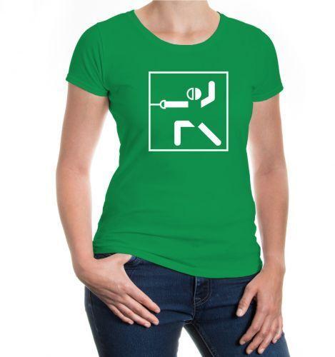 Damen Kurzarm Girlie T-Shirt Fechten-Piktogramm fencing Fechtsport Kampfsport