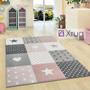 Kids-Rugs-Pink-Grey-Star-Rug-Thick-Girls-Bedroom-Carpet-New-Children-Nursery-Mat