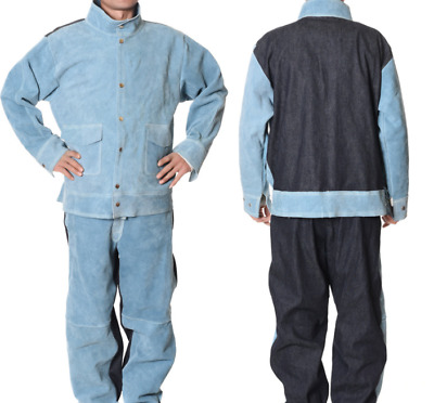 YIZHIYA Welding Clothing,Cowhide Welding Suit,Heat Flame Retardant Welding Safety Protective Work Clothes,For Welding And Melting High Temperature Places Workshop,Blue,L