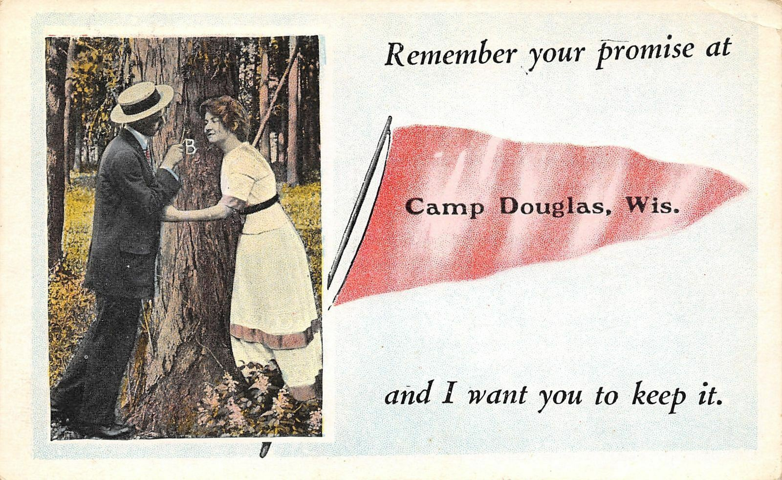 Camp Douglas WI Remember Your Promise At Our Initial Tree~Keep It~Pennant c193