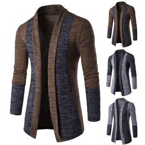 Mens-Slim-Long-Sleeve-Casual-Sweater-Knitted-Cardigan-Jacket-Coat-Blazer-New