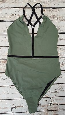 New Ex Branded Elastic Harness Contrast Plunge Swimsuit in Khaki Green SE16