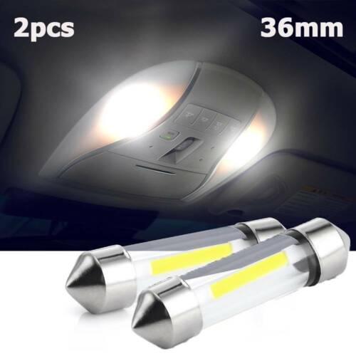 2pcs 36mm Tip COB White License Plate Lights LED Car Dome Bulb Lamp Chic
