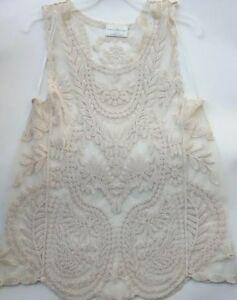BOBBIE BROOKS Ladies Ivory Sheer Lace Tank Top G1
