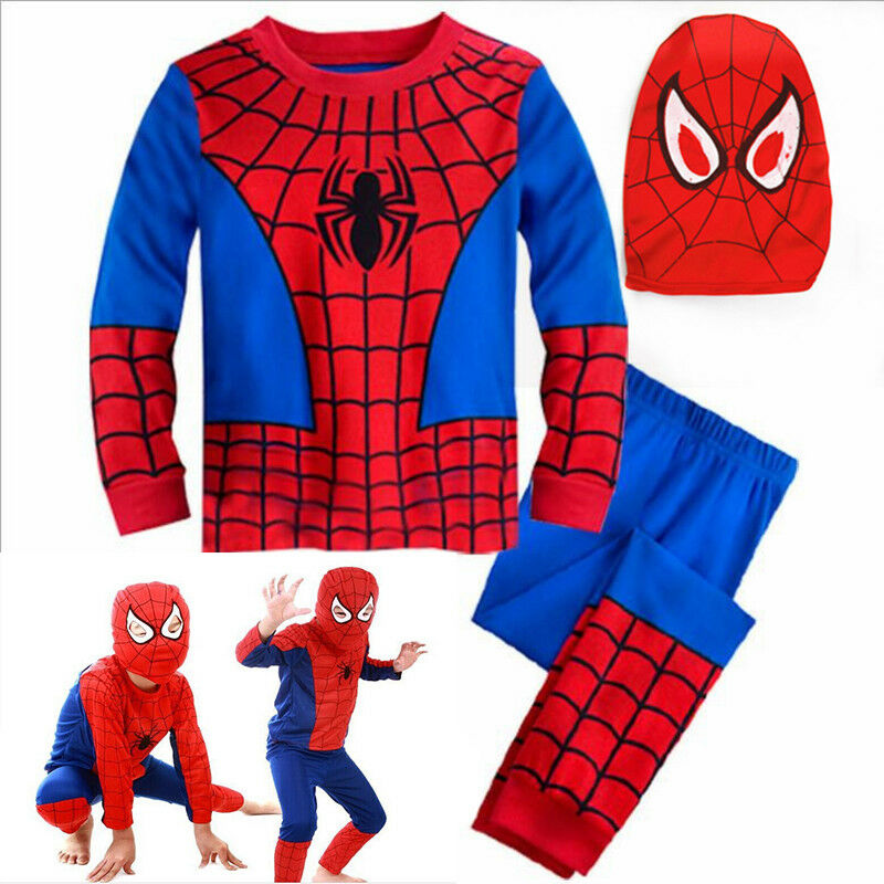 Kids Boys Cartoon Super Hero Spiderman Costume Fancy Dress C