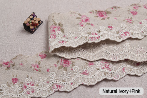 """Embroidery scalloped flower linen eyelet lace trim 2.4/"""" 6cm YH1063a laceking2013"""