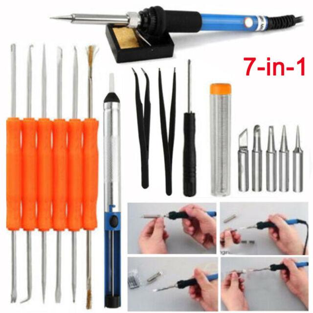 110V 60W Adjustable Electric Temperature Gun Welding Soldering Iron Tool Kit Set