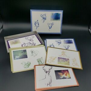 1994-Walt-Disney-Gallery-Bambi-Sketches-19-Notecards-and-Envelopes-in-Box-RARE