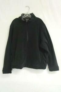 Men-039-s-Jacket-Eddie-Bauer-Black-Fleece-Half-Zip-Collar-100-Polyester-Size-XL