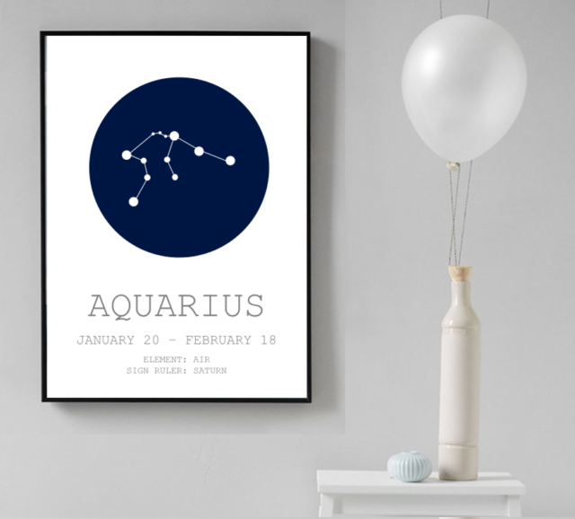 PISCES ZODIAC STAR SIGN Art Print Poster Astrology Spiritual Home Decor Birthday