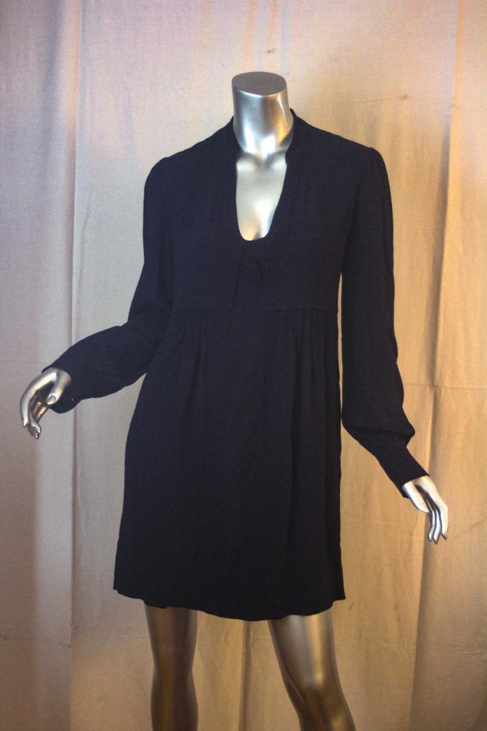 Womans DIANE VON FURSTENBERG Veda Navy bluee Long Sleeve Dress Size 8
