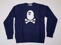 A Bathing Ape Men's Crossbones Crewneck Sweatshirt Navy Gg8 Size Medium