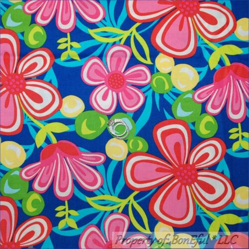 BonEful Fabric BTY 2 Yards Cotton Quilt Blue Pink Green Red Yellow Flower Hippie