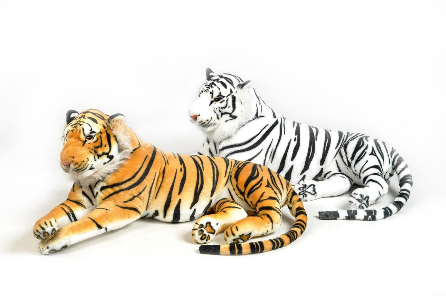 Grand Tiger White in plush 135 cm elongated quality Very soft and Realistic