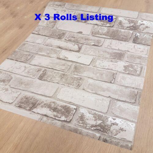 Job Lot 3 Roll Wallpaper White Silver Grey Shimmer Brick Pattern Faux Mural 6752