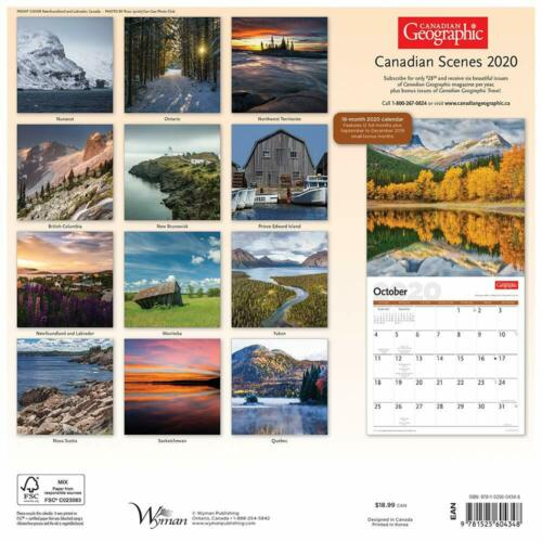 CANADA SCENES CALENDAR 2020 CANADA GEOGRAPHIC SQUARE WALL NEW /& SEALED