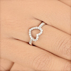 Heart-Shaped-Diamond-Cocktail-Ring-Designer-Solid-Pave-14K-White-Gold-Jewelry