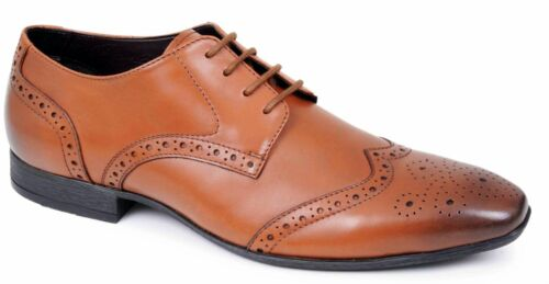 Mens Leather Brogue Shoes Lace Up Office Work Suit Wedding Formal Dress Size
