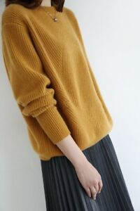 Women-Cashmere-Blend-Sweater-Crew-Neck-Loose-Thick-Knitted-Sweater-Warm-Pullover
