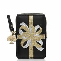 Holiday Kate Spade Present Gift Bow Coin Purse Black Gold Silver Stocking
