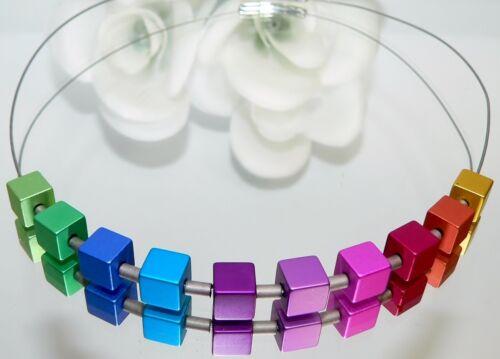 Halsreif Collier Kette Cube Aluminium Würfel  Regenbogen mehrfarbig bunt 299x