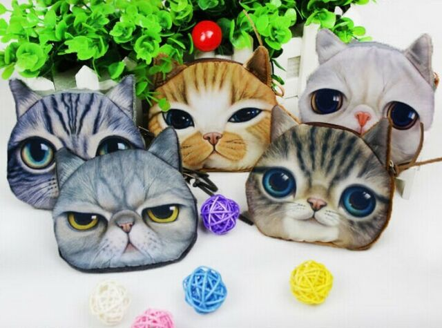 Vintage Card Coin Bag Purse Wallet Makeup Bag Pouch Cute Cat Emoji Face As Gift