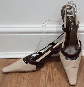 e212d99899e SERGIO ROSSI Beige Fabric   Tan Leather Square Toe Slingback Shoes ...