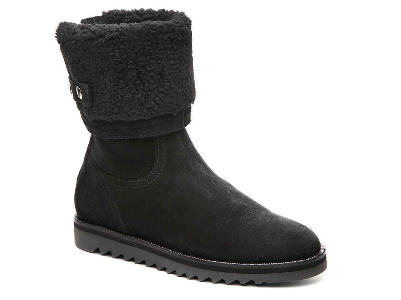 495 AQUATALIA New Perdi Bootie Weatherproof Cuff Ankle Black Suede Boot 5 6 6.5
