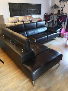 Canapé d'angle en cuir de vachette marron