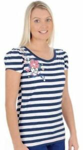 Urban-Beach-Women-039-s-Navy-Stripe-Floral-T-Shirt-UK-Size-6