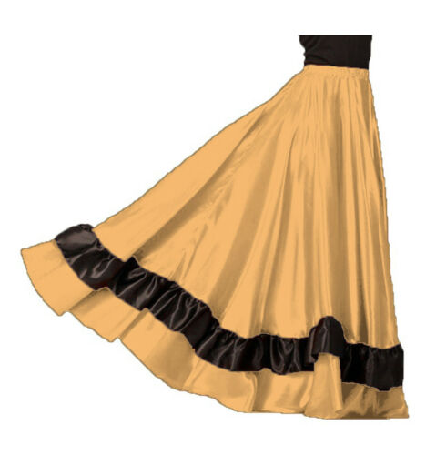 HONEY GOLD Satin Full Circle 12 Yard 2 Ruffle Flamenco Skirt Belly Dance Gypsy