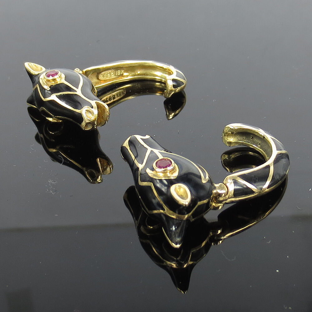 Vintage David Webb 0.50ct Ruby & Enamel 18K Yellow gold Horse Cufflinks