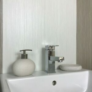 Details About Brushed White Abstract Lines Bathroom Wall Panels Cladding Pvc Shower Waterproof