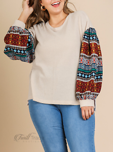 Umgee-Natural-Aztec-Print-Long-Puff-Sleeve-Waffle-Knit-Plus-Size-Top-NWT