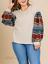 thumbnail 1 - Umgee-Natural-Aztec-Print-Long-Puff-Sleeve-Waffle-Knit-Plus-Size-Top-NWT